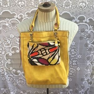 Relic yellow snakeskin zip purse w cosmetic bag